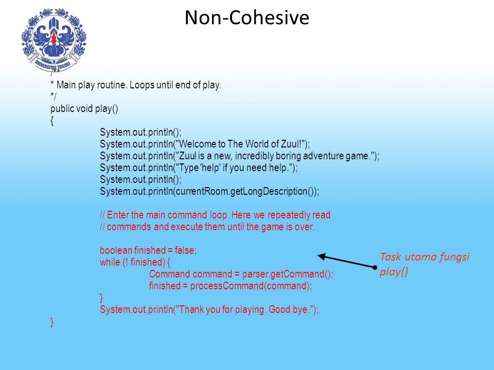 Non-Cohesive Task utama fungsi play() /**