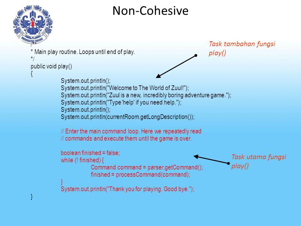 Non-Cohesive Task tambahan fungsi play() Task utama fungsi play() /**