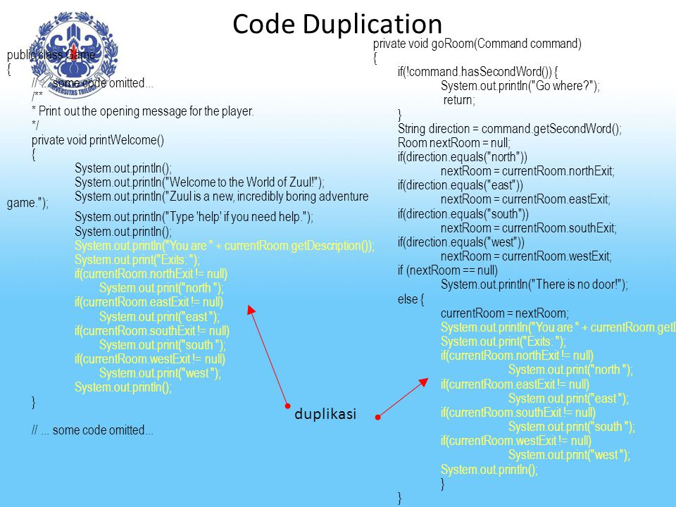 Code Duplication duplikasi private void goRoom(Command command) {