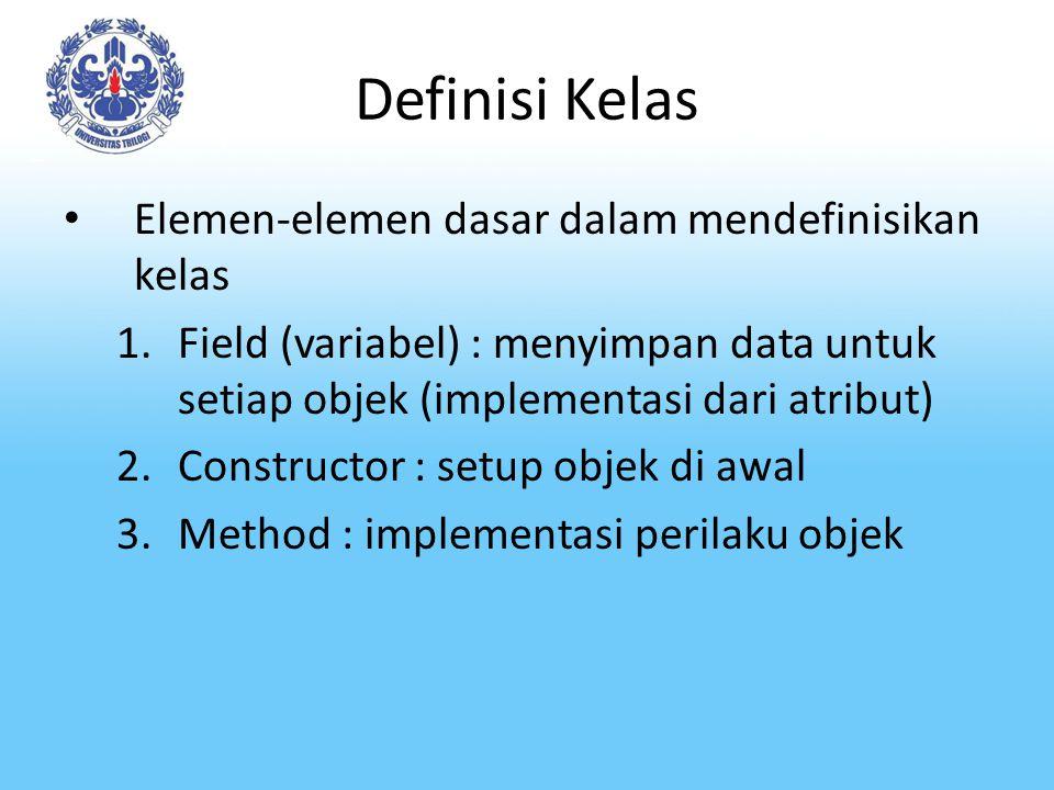 Definisi Kelas Elemen-elemen dasar dalam mendefinisikan kelas