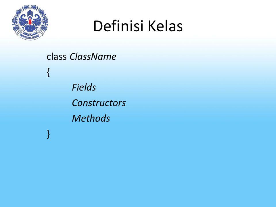 Definisi Kelas class ClassName { Fields Constructors Methods }