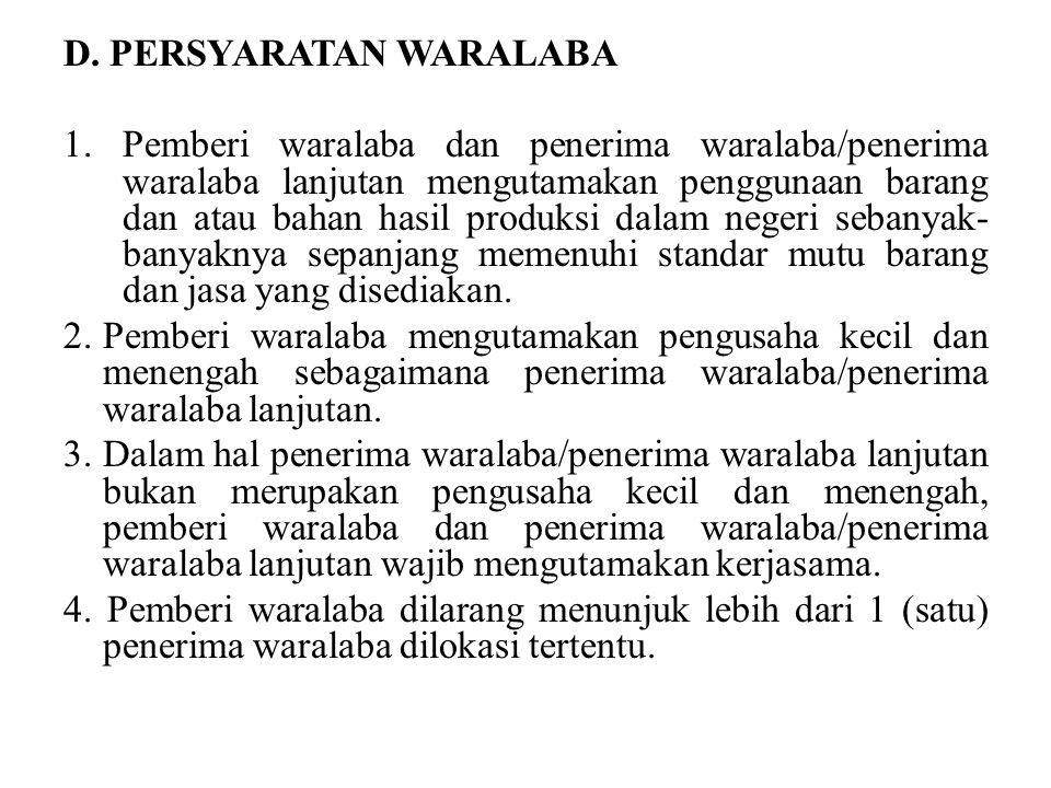 D. PERSYARATAN WARALABA