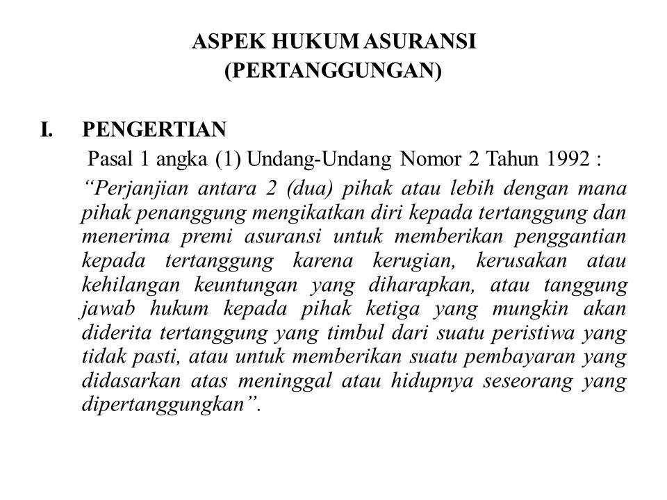 ASPEK HUKUM ASURANSI (PERTANGGUNGAN) PENGERTIAN. Pasal 1 angka (1) Undang-Undang Nomor 2 Tahun 1992 :