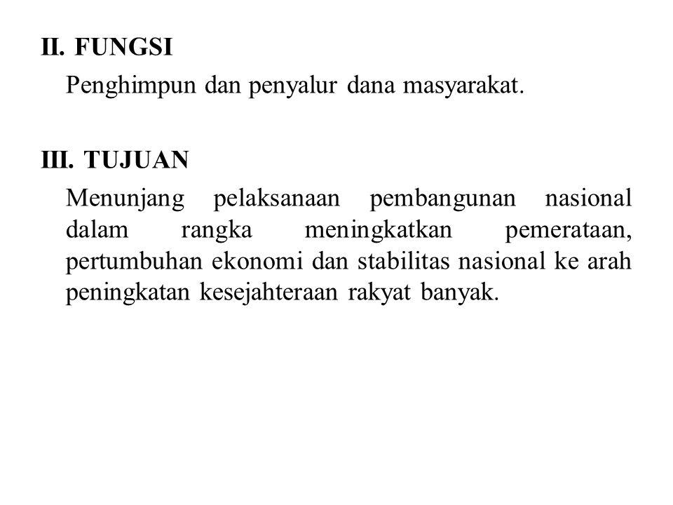 II. FUNGSI Penghimpun dan penyalur dana masyarakat. III