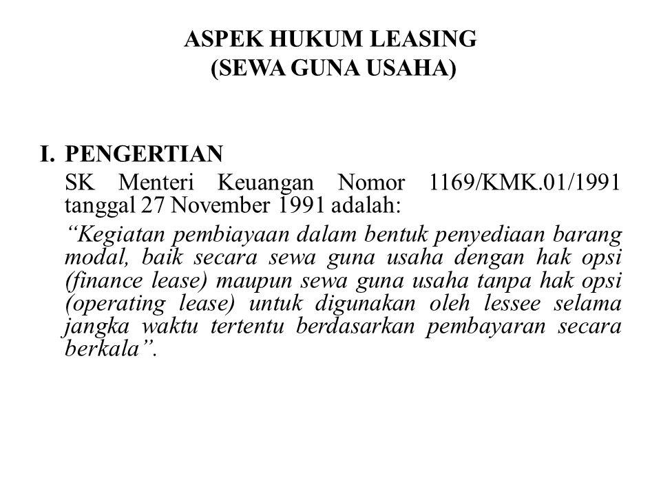 ASPEK HUKUM LEASING (SEWA GUNA USAHA) I. PENGERTIAN. SK Menteri Keuangan Nomor 1169/KMK.01/1991 tanggal 27 November 1991 adalah: