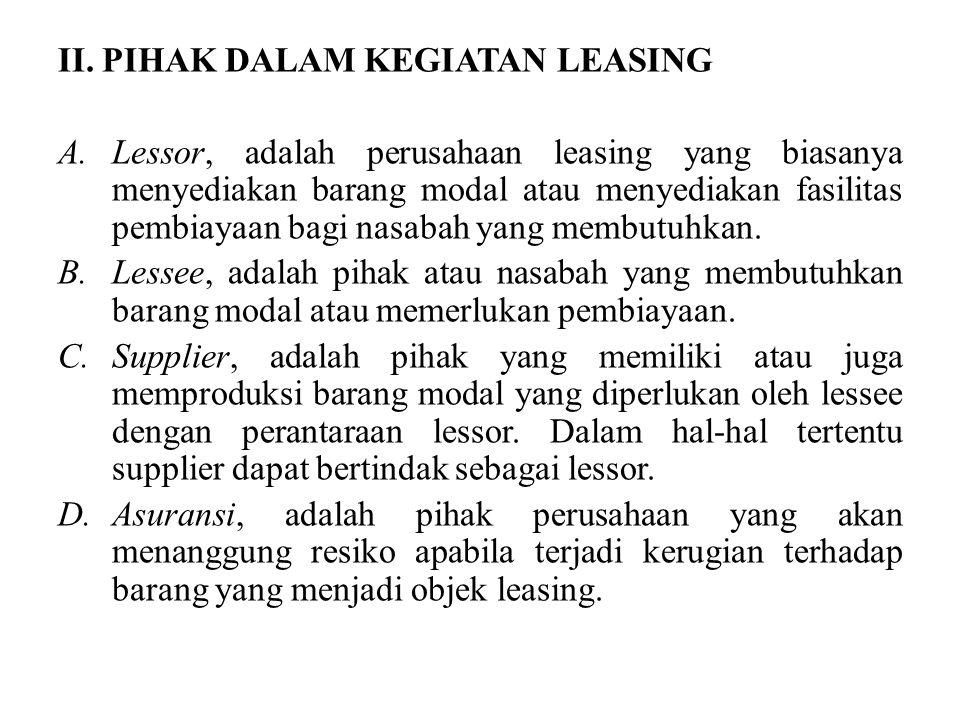 II. PIHAK DALAM KEGIATAN LEASING