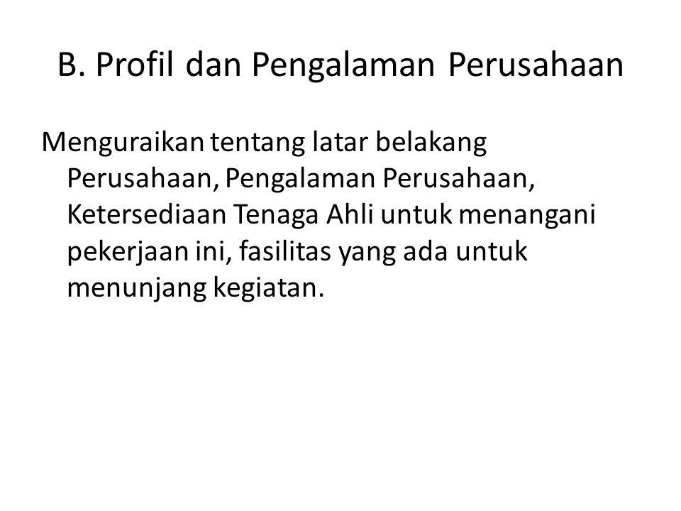 B. Profil dan Pengalaman Perusahaan