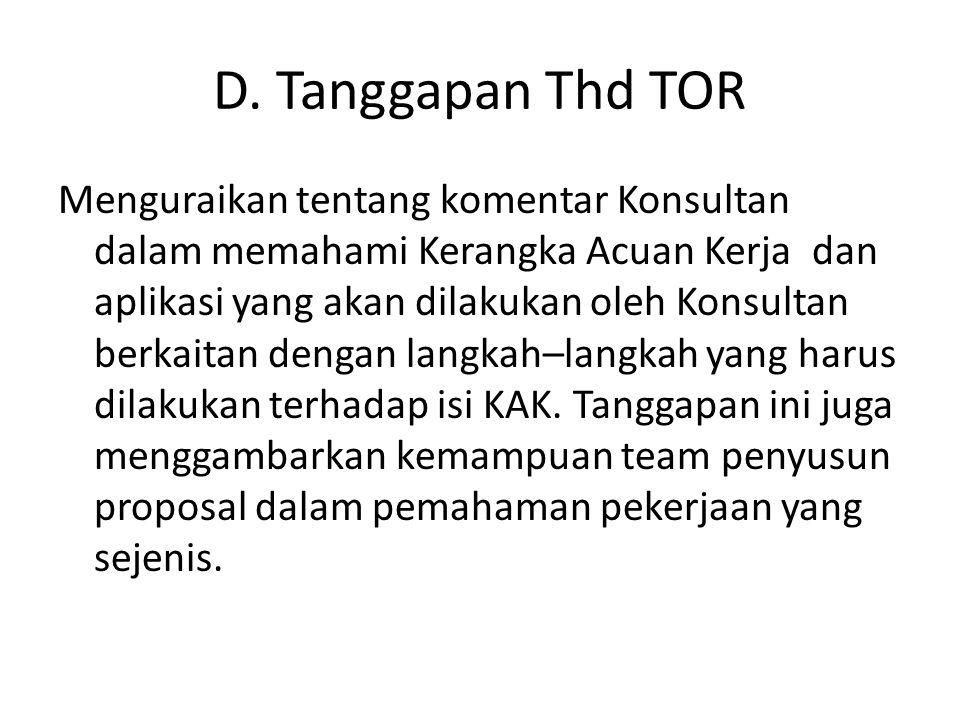 D. Tanggapan Thd TOR