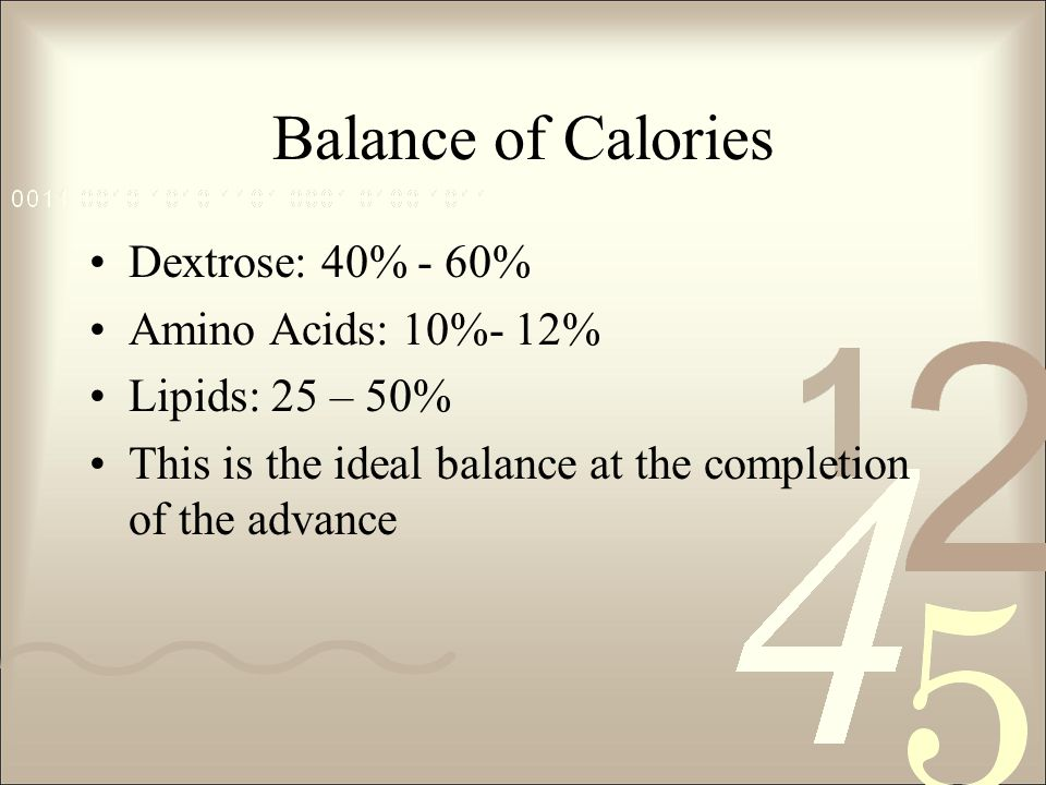 Balance of Calories Dextrose: 40% - 60% Amino Acids: 10%- 12%
