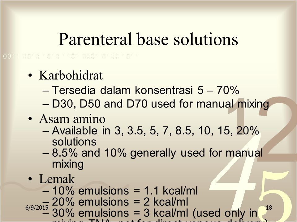 Parenteral base solutions