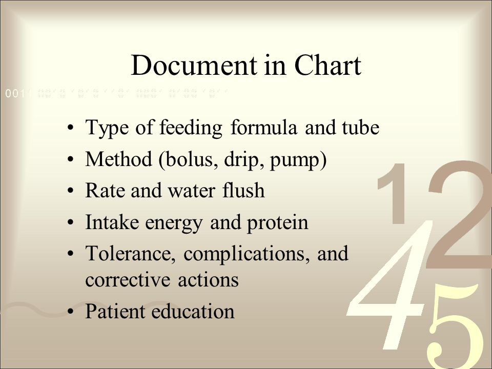 Document in Chart Type of feeding formula and tube