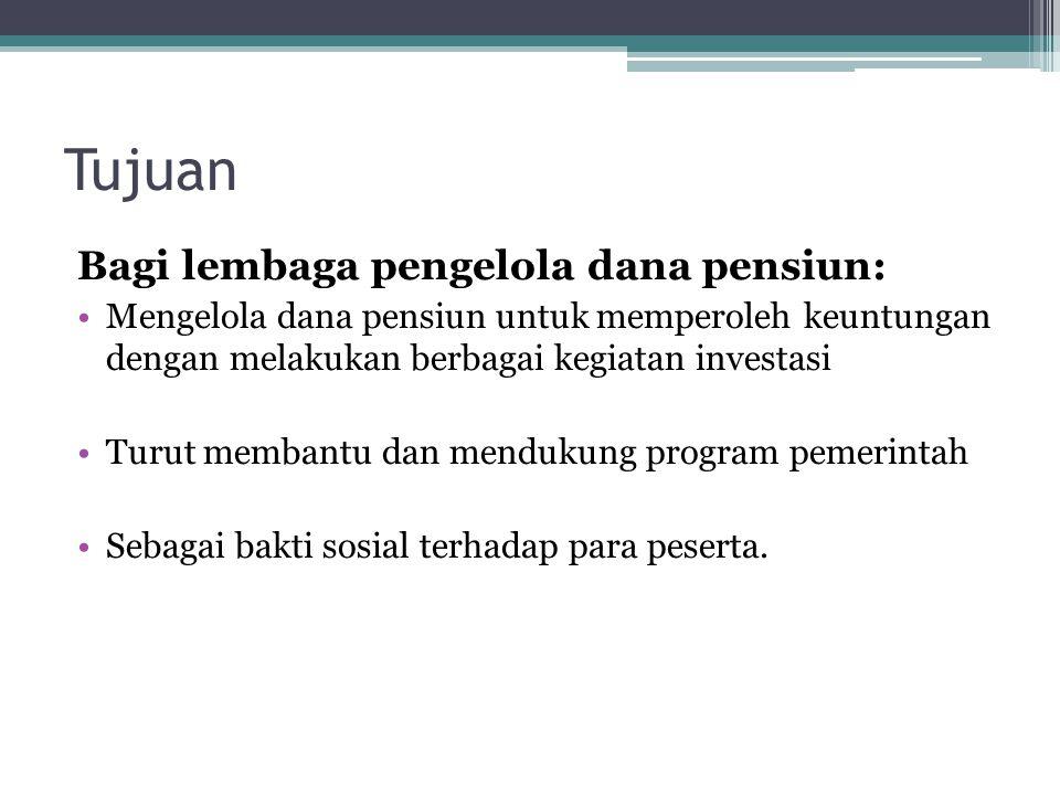 Tujuan Bagi lembaga pengelola dana pensiun: