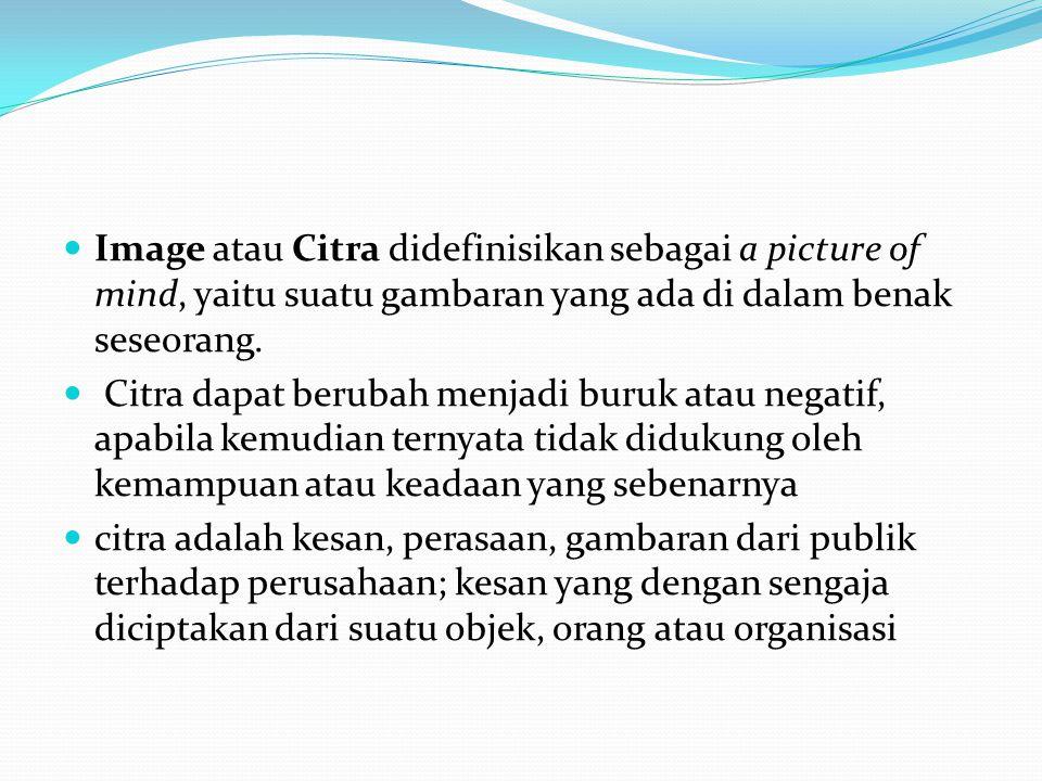 Image atau Citra didefinisikan sebagai a picture of mind, yaitu suatu gambaran yang ada di dalam benak seseorang.