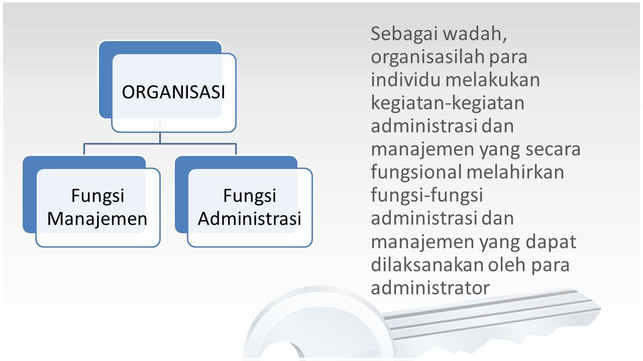 Sebagai wadah, organisasilah para individu melakukan kegiatan-kegiatan administrasi dan manajemen yang secara fungsional melahirkan fungsi-fungsi administrasi dan manajemen yang dapat dilaksanakan oleh para administrator