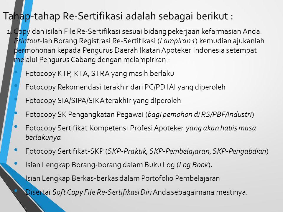 Tahap-tahap Re-Sertifikasi adalah sebagai berikut :