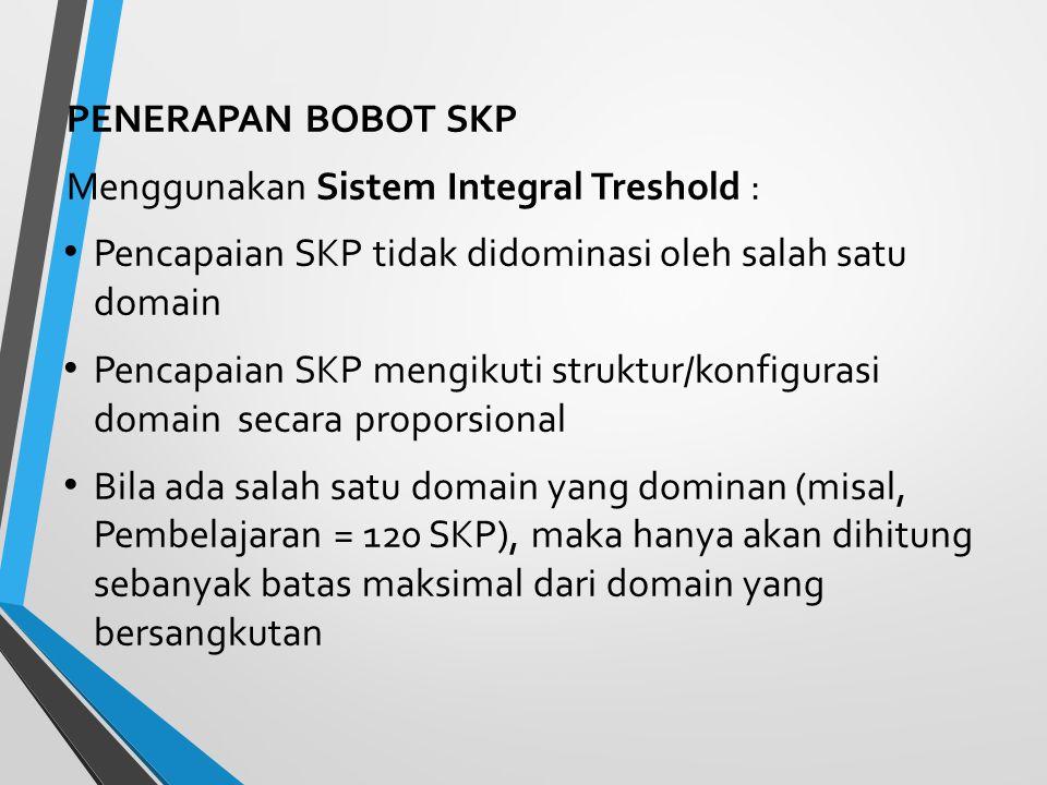 PENERAPAN BOBOT SKP Menggunakan Sistem Integral Treshold : Pencapaian SKP tidak didominasi oleh salah satu domain.