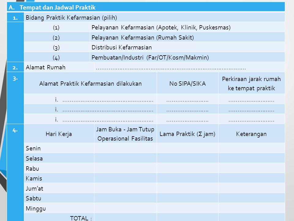 Tempat dan Jadwal Praktik 1. Bidang Praktik Kefarmasian (pilih) (1)