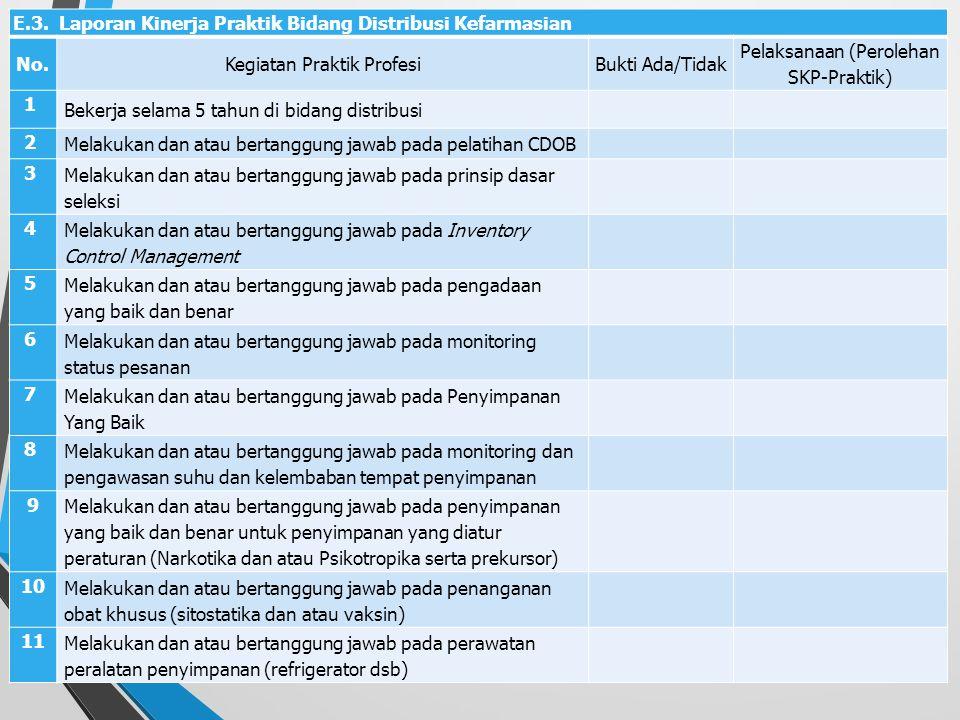 E.3. Laporan Kinerja Praktik Bidang Distribusi Kefarmasian No.