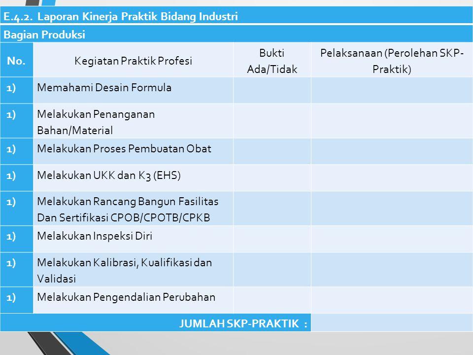 E.4.2. Laporan Kinerja Praktik Bidang Industri Bagian Produksi No.