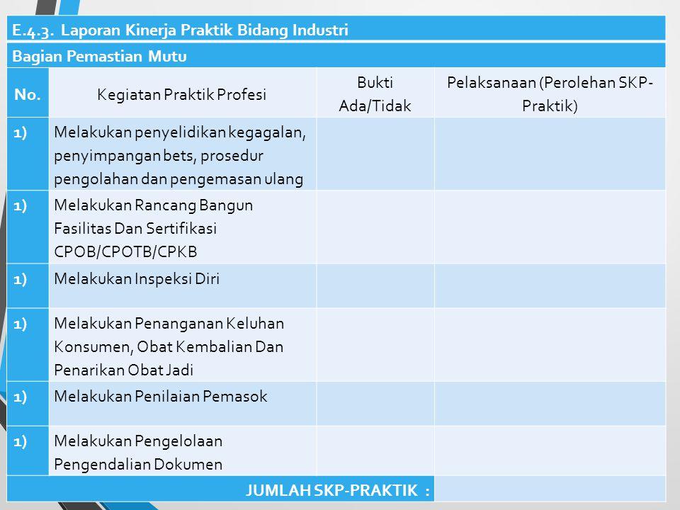 E.4.3. Laporan Kinerja Praktik Bidang Industri Bagian Pemastian Mutu