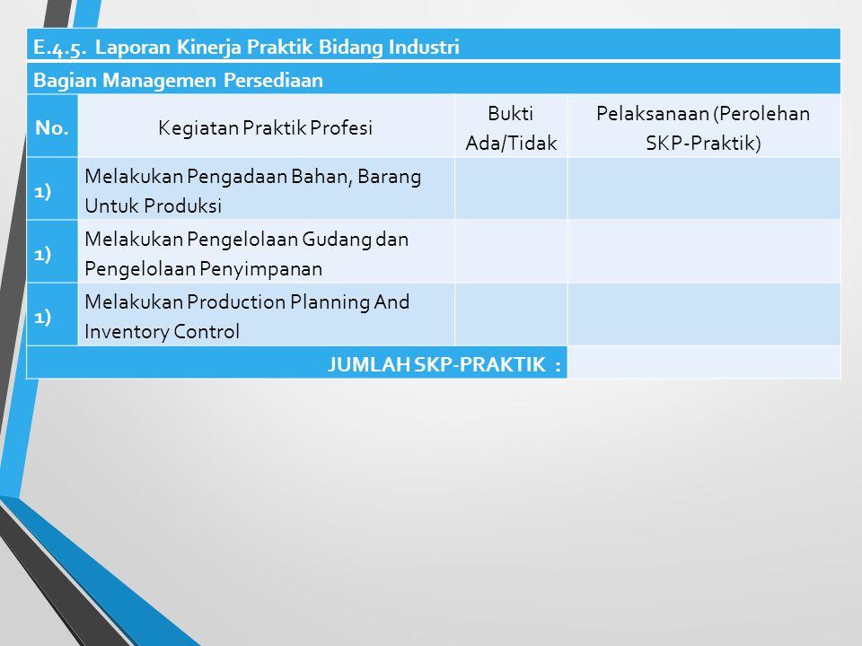 E.4.5. Laporan Kinerja Praktik Bidang Industri