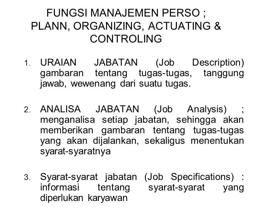 FUNGSI MANAJEMEN PERSO ; PLANN, ORGANIZING, ACTUATING & CONTROLING