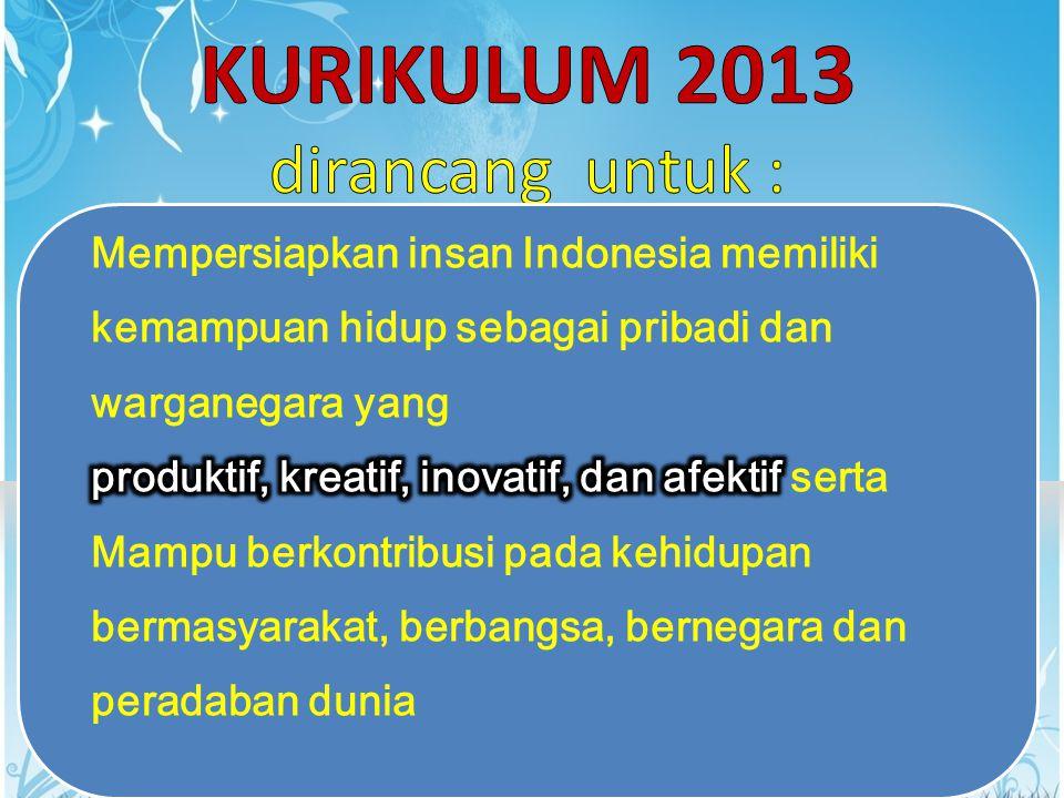 KURIKULUM 2013 dirancang untuk :