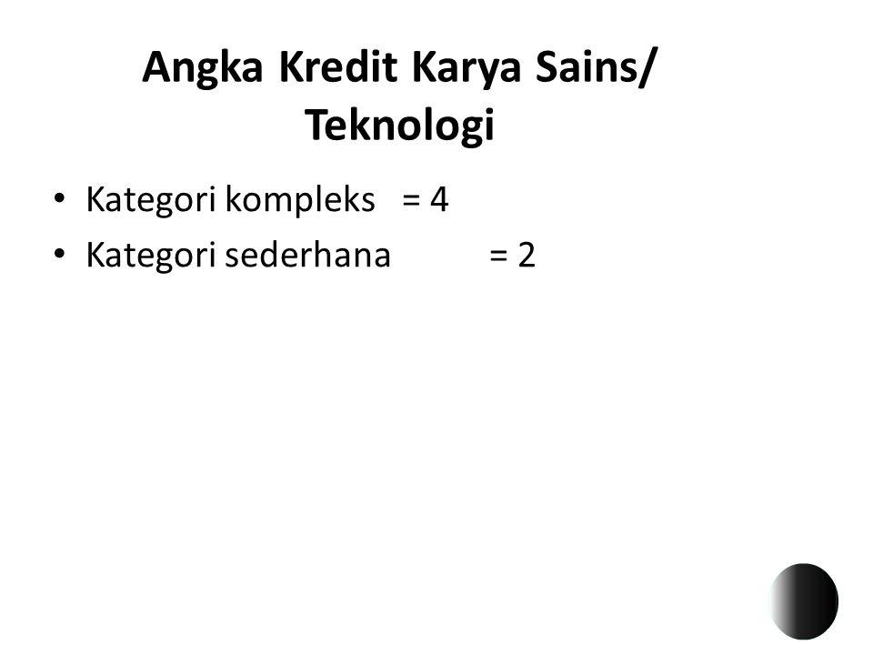 Angka Kredit Karya Sains/ Teknologi