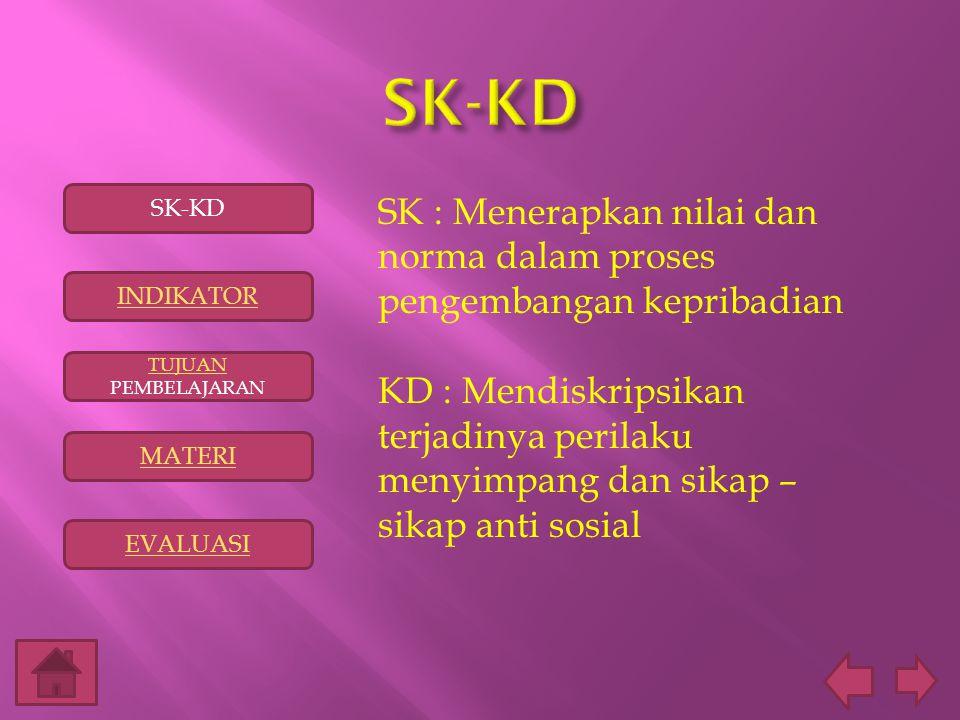 SK-KD SK-KD. SK : Menerapkan nilai dan norma dalam proses pengembangan kepribadian.