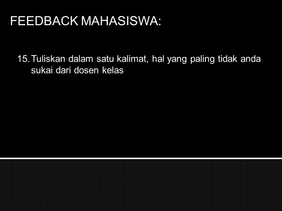 FEEDBACK MAHASISWA: Tuliskan dalam satu kalimat, hal yang paling tidak anda sukai dari dosen kelas