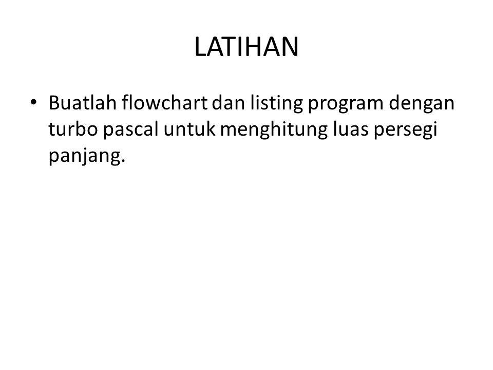 LATIHAN Buatlah flowchart dan listing program dengan turbo pascal untuk menghitung luas persegi panjang.