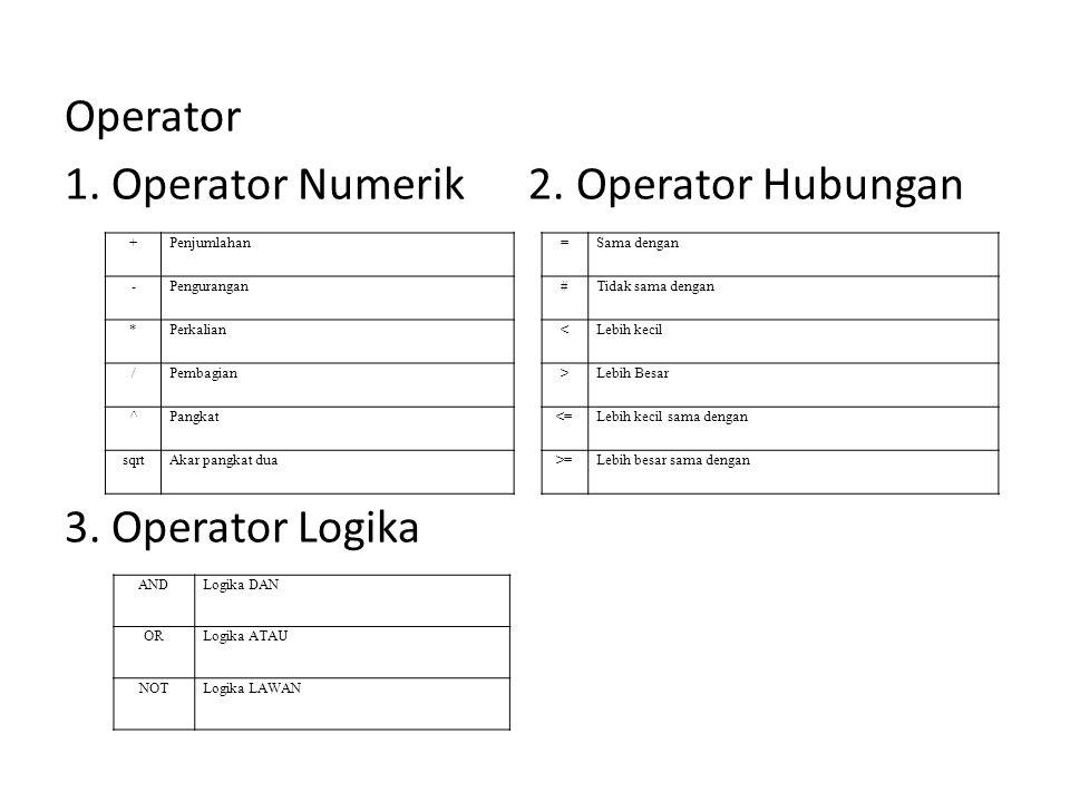 1. Operator Numerik 2. Operator Hubungan