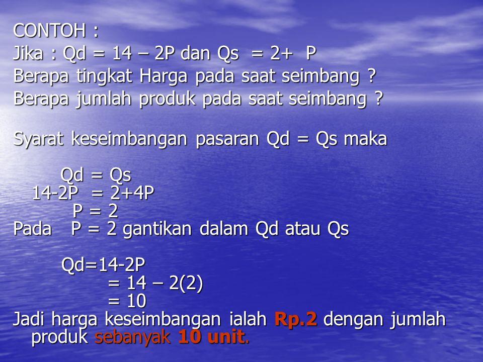 CONTOH : Jika : Qd = 14 – 2P dan Qs = 2+ P Berapa tingkat Harga pada saat seimbang .