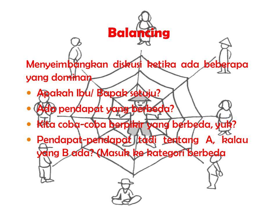 Balancing Menyeimbangkan diskusi ketika ada beberapa yang dominan