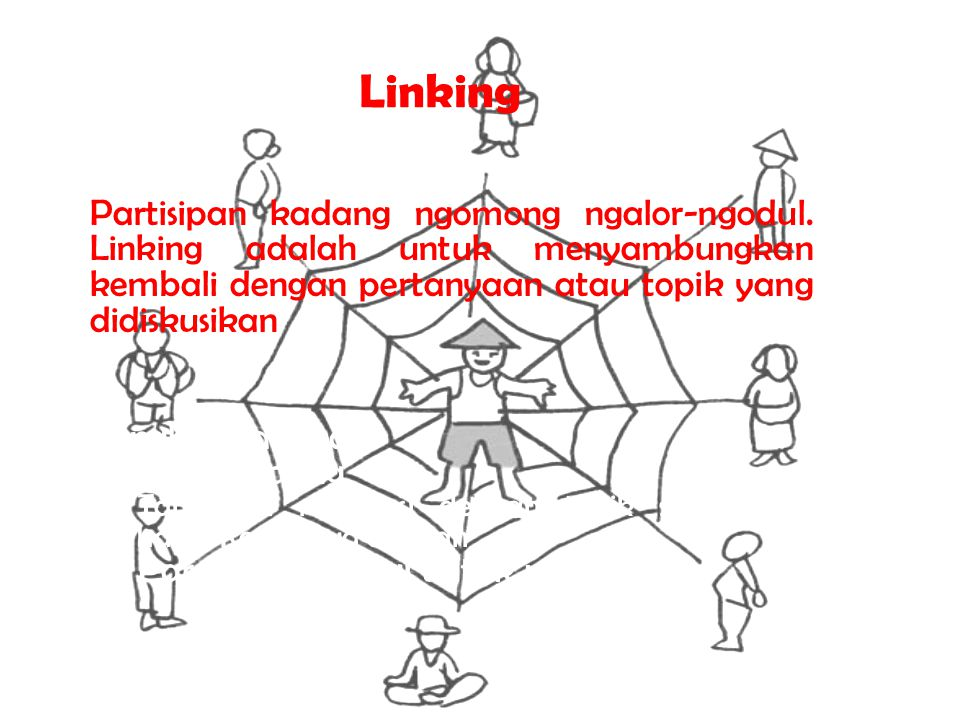 Linking Partisipan kadang ngomong ngalor-ngodul. Linking adalah untuk menyambungkan kembali dengan pertanyaan atau topik yang didiskusikan.