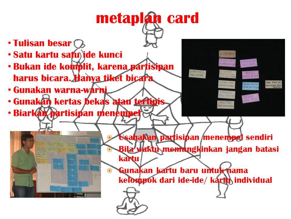 metaplan card Tulisan besar Satu kartu satu ide kunci