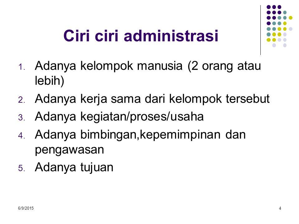 Ciri ciri administrasi