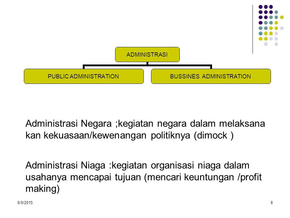 Administrasi Negara ;kegiatan negara dalam melaksana kan kekuasaan/kewenangan politiknya (dimock )