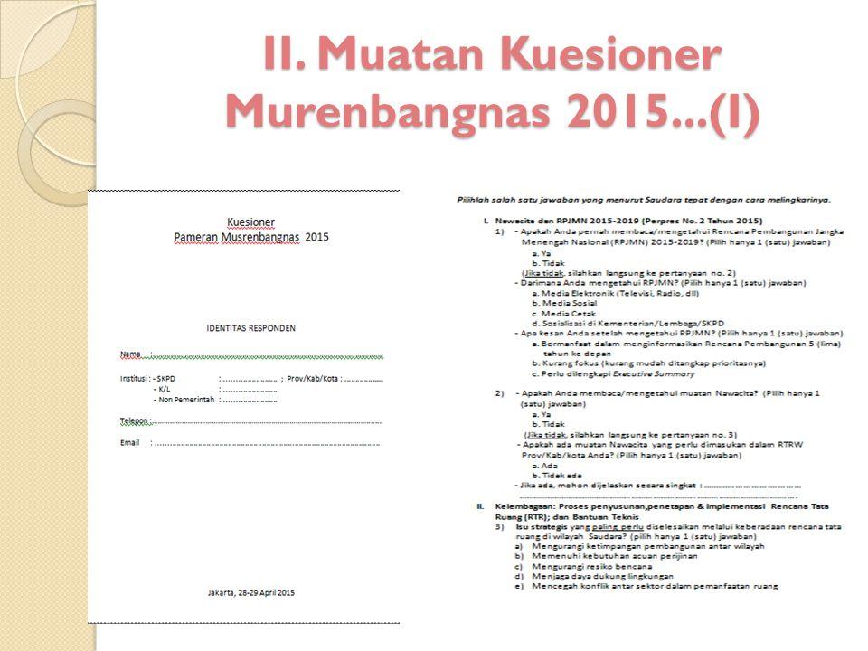 II. Muatan Kuesioner Murenbangnas 2015...(I)