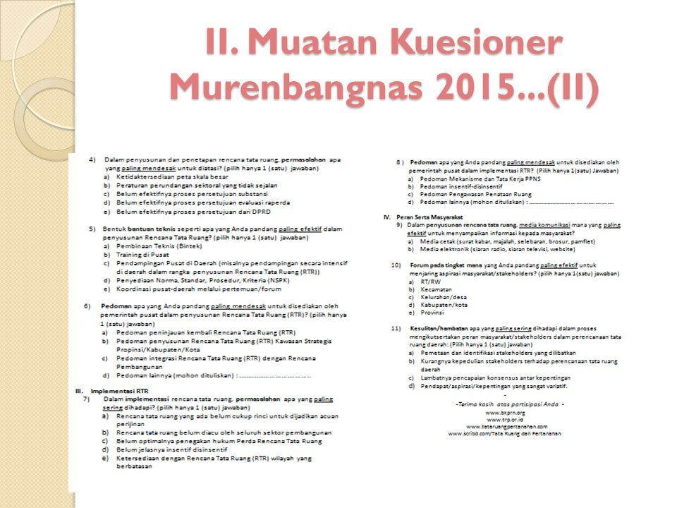 II. Muatan Kuesioner Murenbangnas 2015...(II)
