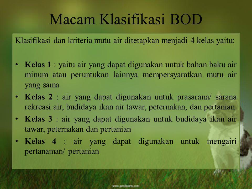 Macam Klasifikasi BOD Klasifikasi dan kriteria mutu air ditetapkan menjadi 4 kelas yaitu: