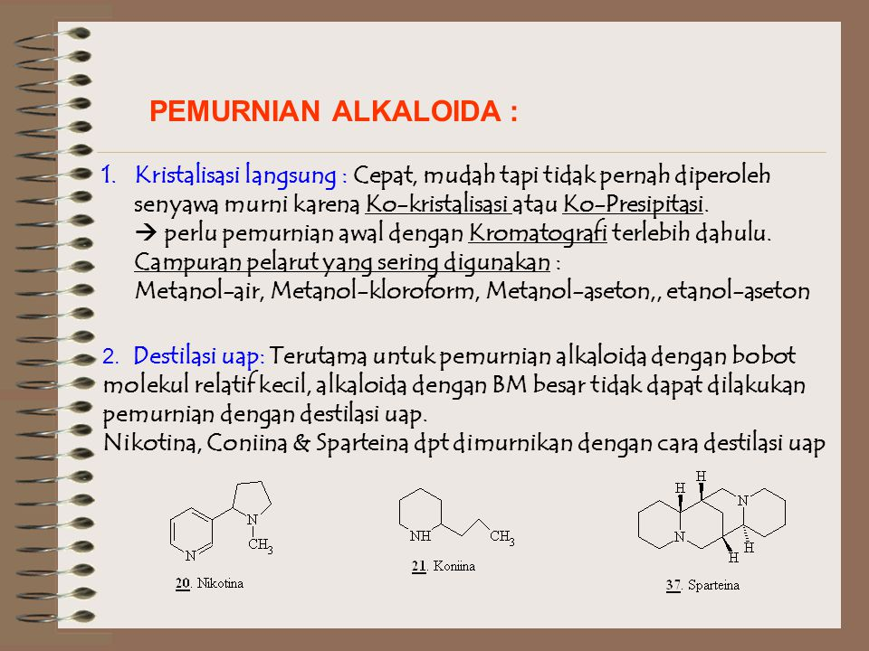 PEMURNIAN ALKALOIDA : Kristalisasi langsung : Cepat, mudah tapi tidak pernah diperoleh. senyawa murni karena Ko-kristalisasi atau Ko-Presipitasi.