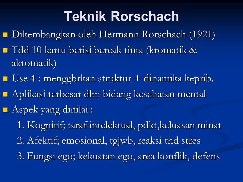 Teknik Rorschach Dikembangkan oleh Hermann Rorschach (1921)