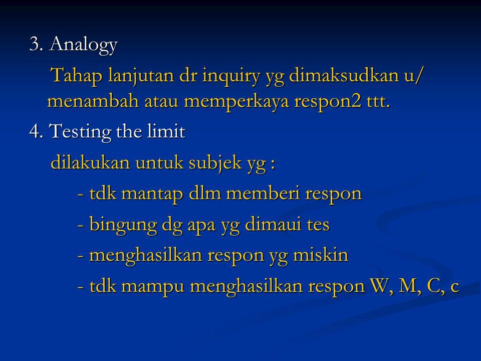 3. Analogy Tahap lanjutan dr inquiry yg dimaksudkan u/ menambah atau memperkaya respon2 ttt. 4. Testing the limit.