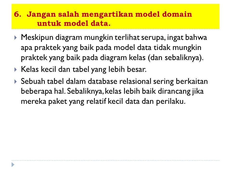 6. Jangan salah mengartikan model domain untuk model data.