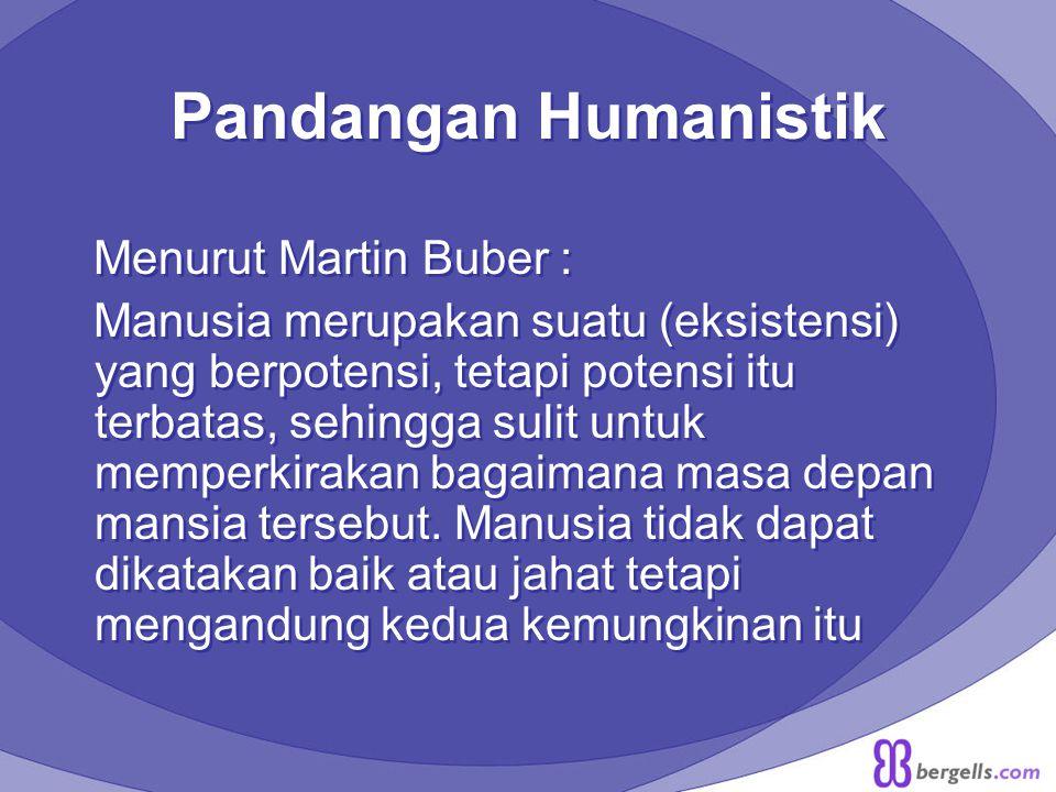 Pandangan Humanistik Menurut Martin Buber :