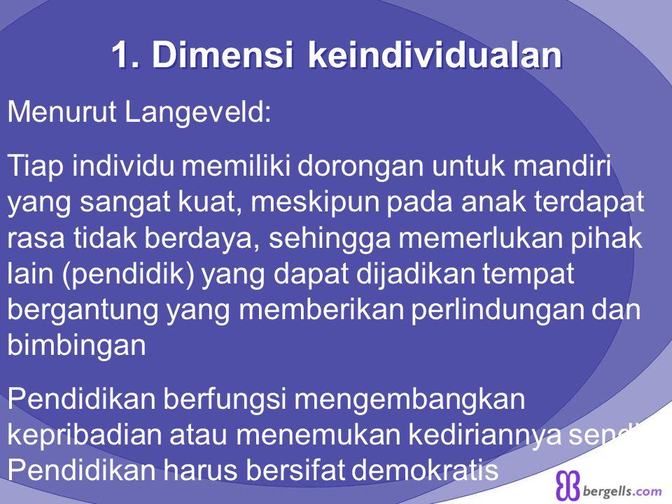 1. Dimensi keindividualan