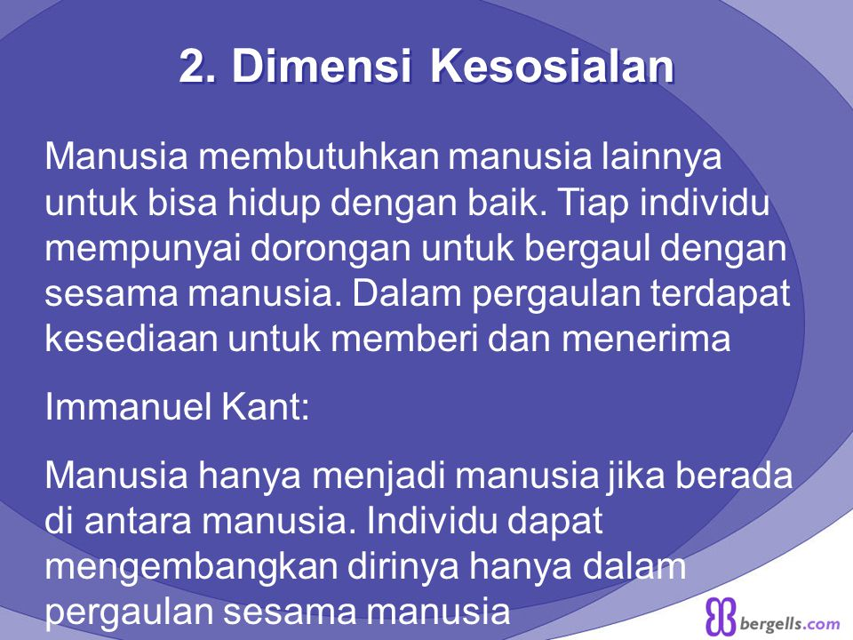 2. Dimensi Kesosialan