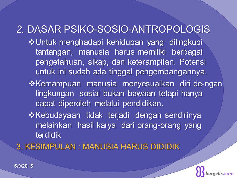 2. DASAR PSIKO-SOSIO-ANTROPOLOGIS