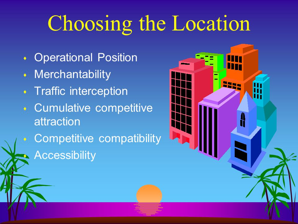 Choosing the Location Operational Position Merchantability